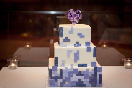 bolo casamento tetris
