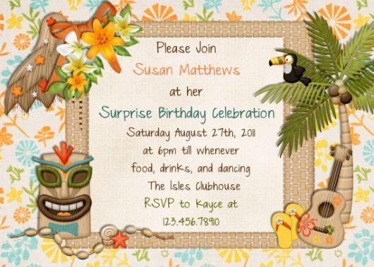 design convite havaiano