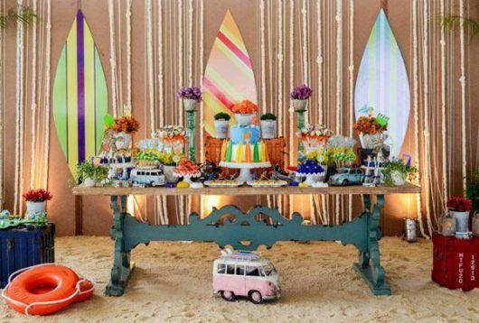 festa havaiana areia decoração
