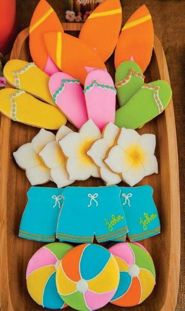 festa havaiana bolachas personalizadas
