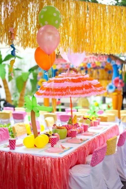 festa havaiana colorida como fazer