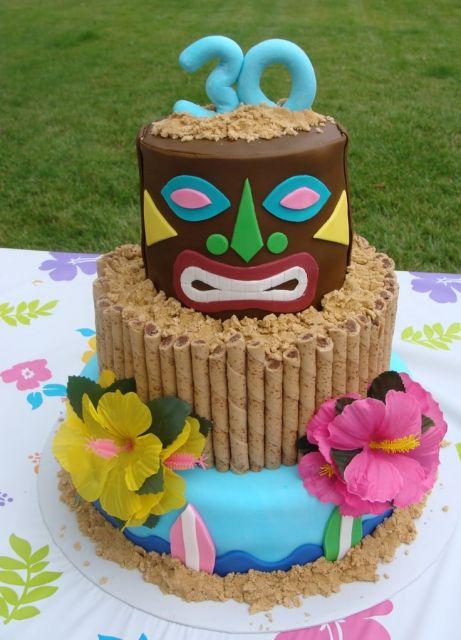 festa havaiana ideia de bolo