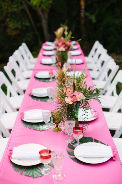 mesa convidados festa havaiana
