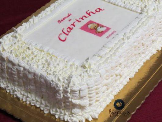 bolo quadrado com papel de arroz