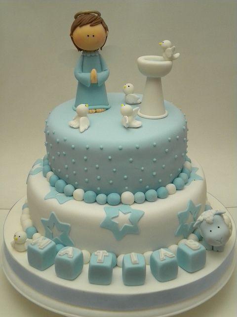 decoração bolo batismo