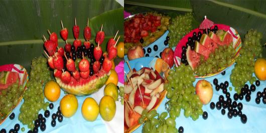 luau mesa de frutas