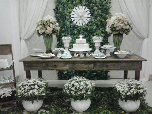 mesa de batismo decorada rústica