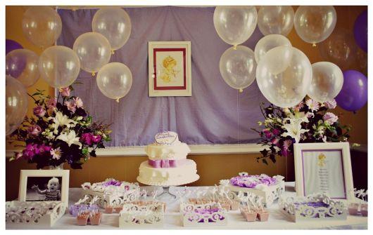 mesa de batismo lilas provençal