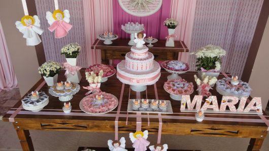 mesa de batismo anjo para menina