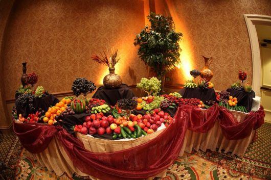 mesa de frutas casamento chique