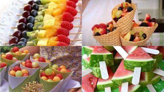 mesa de frutas festa havaiana