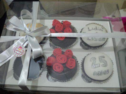 Presente para Bodas de Prata cupcakes