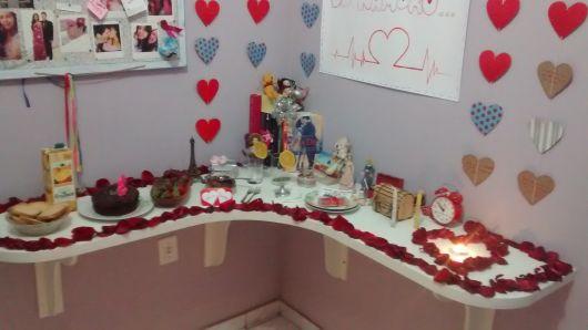 Festa Surpresa para Namorado Decoraç u00e3o, presentes e pratos!~ Festa No Quarto