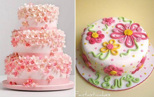 bolo com flores pasta americana