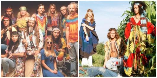 grupo de pessoas vestidos no estilo hippie