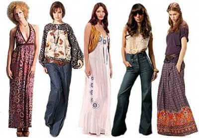 Calça jeans, vestidos longos e acessórios criam um visual hippie moderno