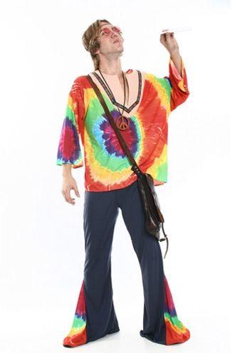 Roupa masculina hippie com estampa tie die e calça boca de sino