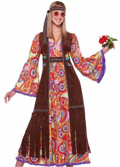 Vestido estampado longo no estilo hippie