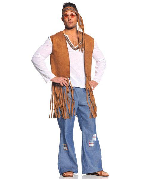 Bata, calça jeans larga e chinelo já é suficiente para a fantasia hippie