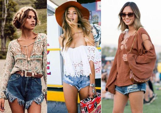 Short jeans com blusas ou batas largas criam o estilo hippie chic