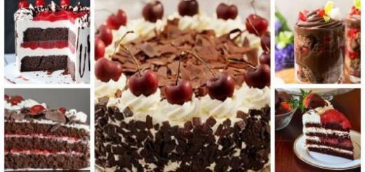 Montagem com exemplos de bolo floresta negra.