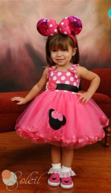 fantasia da Minnie infantil rosa com tiara de orelha