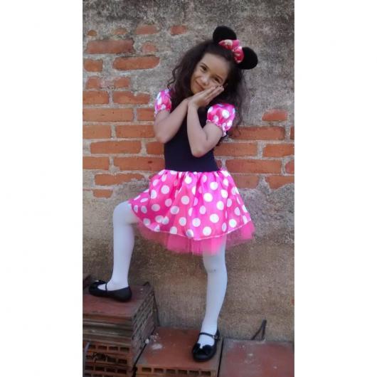 fantasia da Minnie infantil com saia rosa e blusa preta