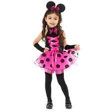 fantasia da Minnie infantil de vestido rosa com bolinhas preta