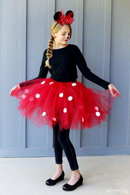 fantasia da Minnie infantil de tutu vermelho com bolinhas brancas