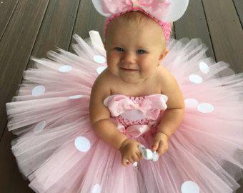 fantasia da Minnie de bebê rosa com tutu