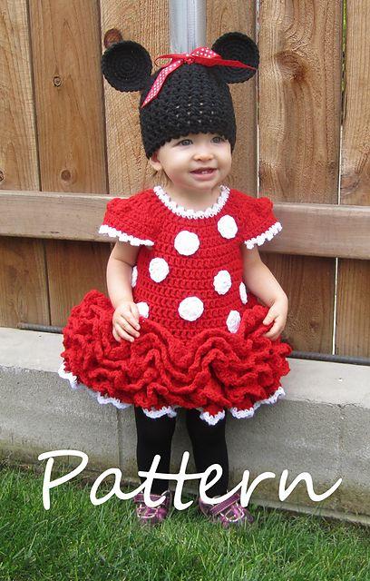 fantasia da Minnie para bebê de vestido vermelho de crochê