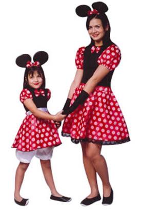 fantasia da Minnie para mãe e filha de vestido vermelho de bolinhas brancas