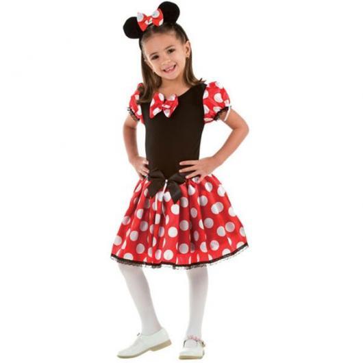 fantasia da Minnie de vestido vermelho com meia-calça branca