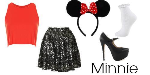 fantasia da Minnie improvisada com saia de paetê
