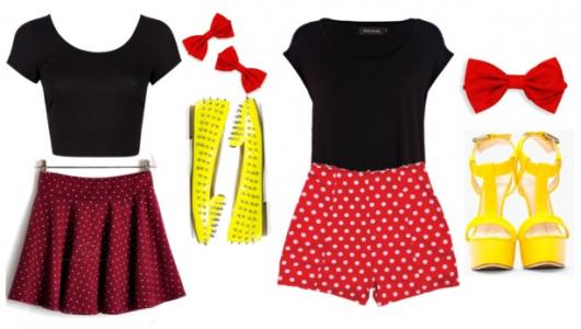 fantasia da Minnie improvisada com shorts e saia vermelhos com bolinhas brancas