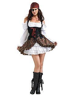 fantasia de pirata feminina de vestido branco com sobreposição preta