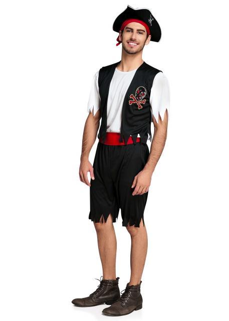 fantasia de pirata masculina de bermuda e blusa branca com colete