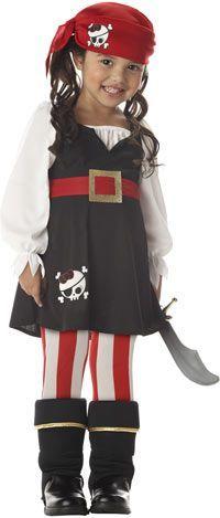 fantasia de pirata de menina com vestido e meia calça listrada