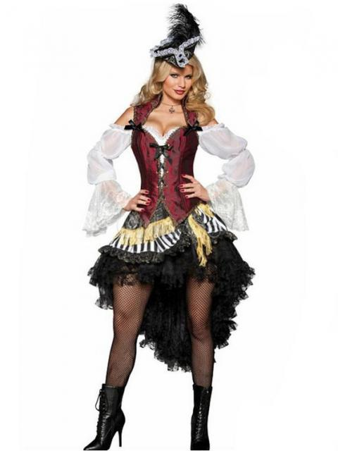 fantasia de pirata feminina de vestido com barra de trás mais cumprida