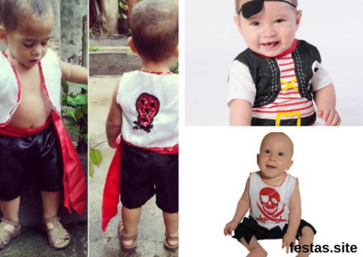 seleção de fotos de fantasia de pirata para bebê
