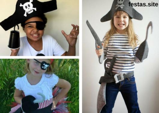 seleção de fotos de fantasias improvisadas de piratas para crianças