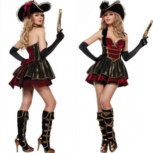 fantasia de pirata feminina de vestido curto vinho com sobreposição preta