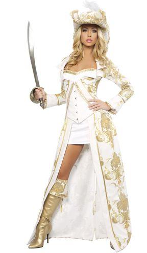 fantasia de pirata feminina de vestido branco e dourado
