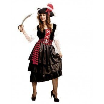 fantasia de pirata feminina de vestido longo