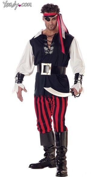 fantasia de pirata masculina de calça listrada preta e vermelha com blusa larga