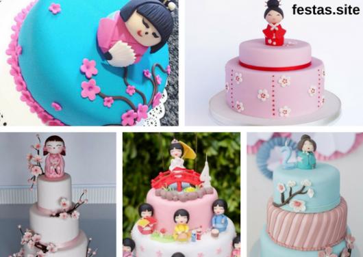 seleção de fotos de bolos decorados com bonecas kokeshi