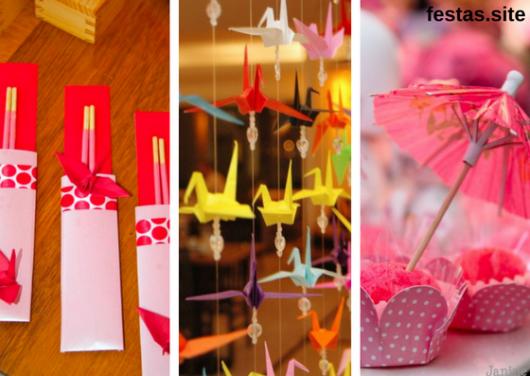 seleção de fotos de hachi, origami e doce com sombrinha japonesa