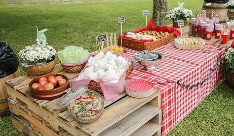 mesa de pallets para festa piquenique