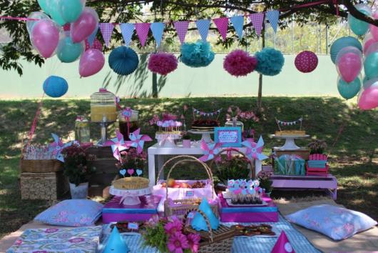 festa piquenique em rosa e azul