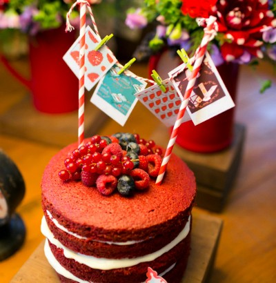 bolo red velvet em festa piquenique
